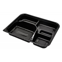 5 Compartment Black Bento Box