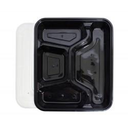 4 Compartment Black Rectangular Lunch Box
