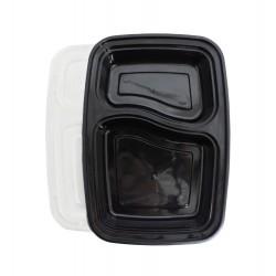2 Compartment Black Rectangular Lunch Box