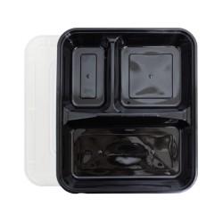 3 Compartment Black Rectangular Lunch Box
